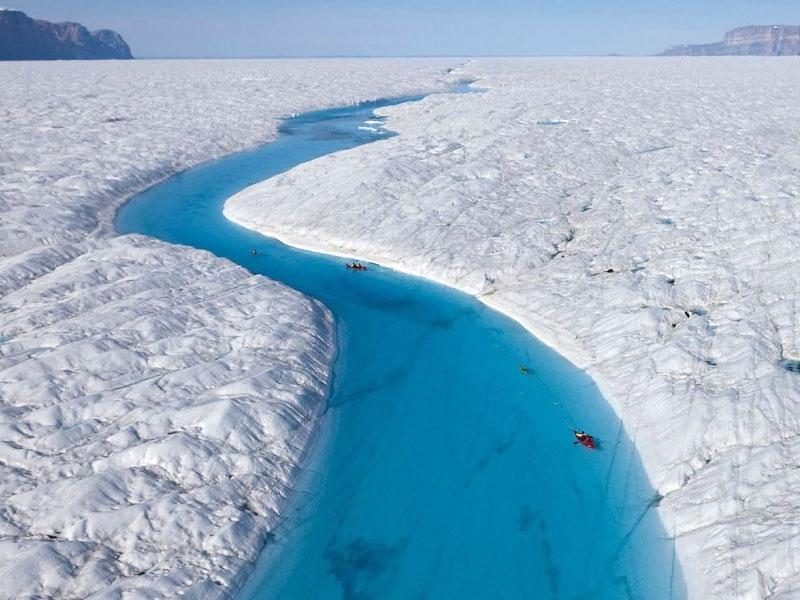 kayaking in blue river